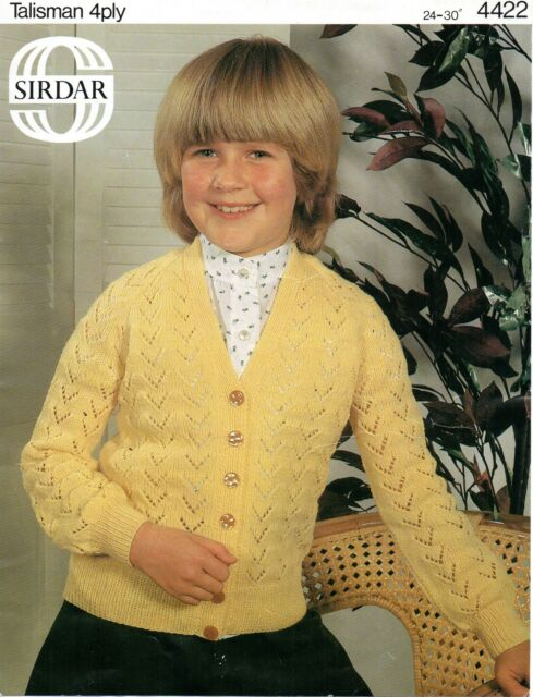 Knitting Pattern Sirdar 4422 Childs 4ply Chevron Lace V Neck ...