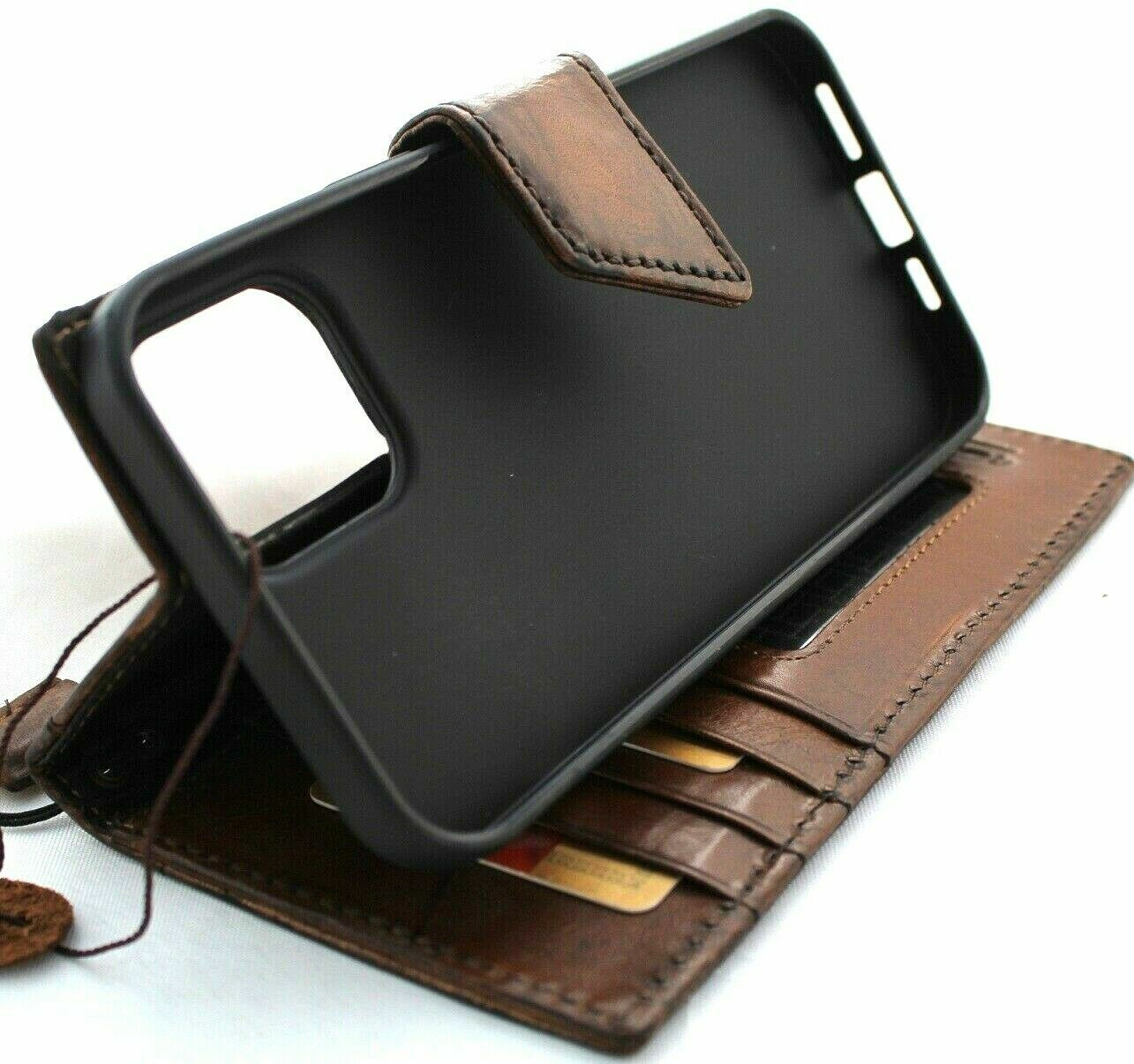 Image 51 - Genuine Leather Case Fit Apple iPhone 12 PRO Wallet Vintage Cover Book Magnetic