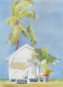 """Jeanne Dobie """"V.I.P. Cottage"""" Print Signed #372/850 Palm Trees Tropical Island"""