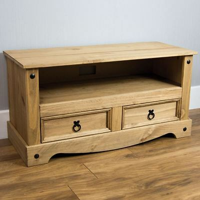 Corona Flat Screen TV Unit 2 Drawer Mexican Solid Pine Wood Waxed Rustic Finish