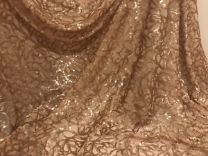 Gold-Stretch-Sequins-Embroidered-Mesh-Lace-Fabric-50-Width-Sold-By-The-Yard