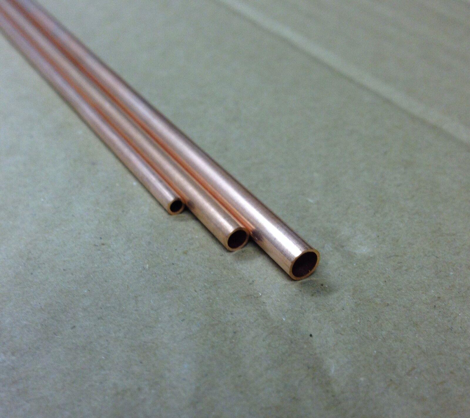 Copper Tube 2mm, 3mm, 4mm, 5mm,6mm, 300mm long 0.45mm wall. Model making