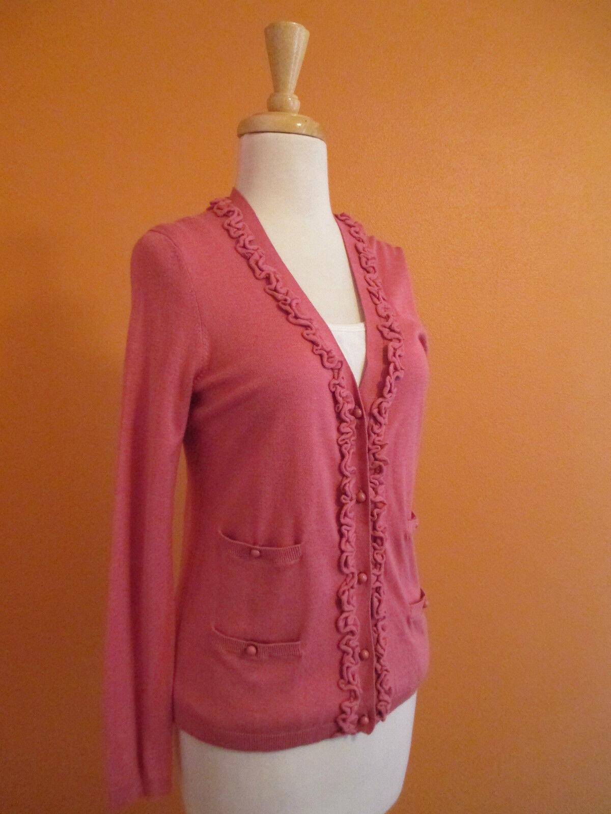 New Talbots Size XS pink Pink Ruffle Embellished Cardigan Sweater