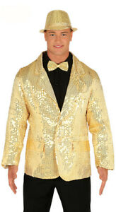 Hombres-Oro-Chaqueta-ANOS-70-80-Disfraz-1970s-1980s-Conjunto-de-fiesta-NUEVO