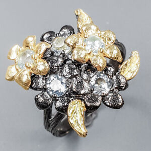 Blue Topaz Ring Silver 925 Sterling Handmade Ring Size 8 /R148624