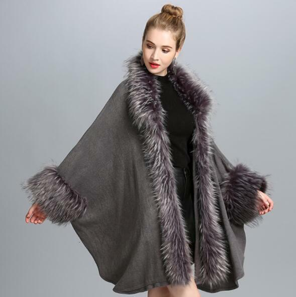Womens Ladies Fashion Faux Fur Batwing Sleeves Knitted Coat Cape Outwear 6307