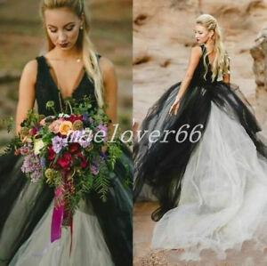 Vintage Black White Gothic V Neck Tulle Ball Gown Backless Wedding