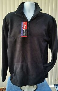 New-With-tag-JON-LAUREN-Black-Fleece-1-4-Zip-Pullover-Jacket-Men-039-s-Size-Medium