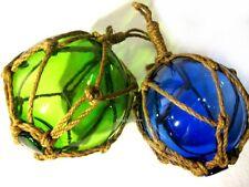 2 X kleine Fischerkugeln im Netz- blau und grün- Maritime Deko- 5 cm