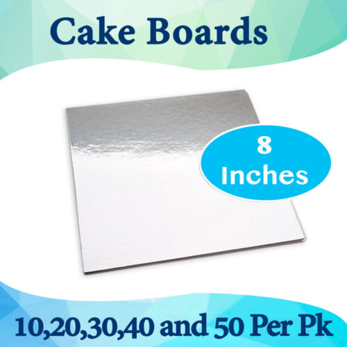 Cake Board Square Silver 8 Inches 10,20,30,40 and 50 Pk Cake Boxes Cupcake Boxes