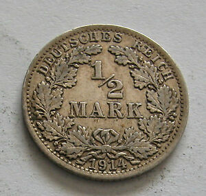 GERMANY-EMPIRE-SILVER 1/2 MARK 1914A  KM # 17