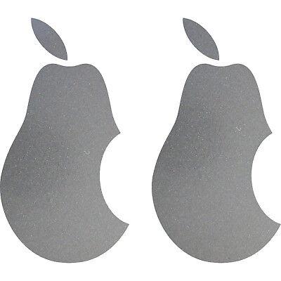 2 Adesivi Tatuaggio Pera 10cm Argento Apple Verarsche Tablet Laptop Notebook Auto-