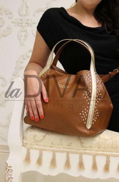 Tosca Blu ~ Italy Designer Vera Pelle Borsa Cognac Marrone Borchie% Sale% Ovp 249 €.