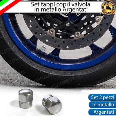 SET 2 TAPPI TAPPINI COPRIVALVOLA RUOTE TRIUMPH ARGENTO ACCIAIO