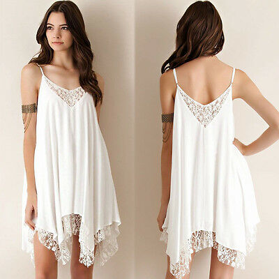 Sexy Women White Lace Dress Summer Beach Short Min Boho Cocktail Party Casual