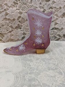 Fenton-Pink-Glass-Hand-Painted-Signed-Mini-Boot-Planter-Vase