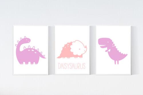 3 Personalised Dinosaur Prints Trex Nursery Wall Art Girls Pink Room Pictures