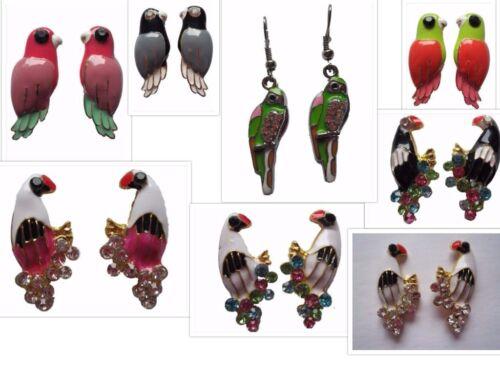 Ohrringe Ohrstecker Stecker Papagei Vogel bunt Straß Ara Zoo Kakadu 9 Farben TOP