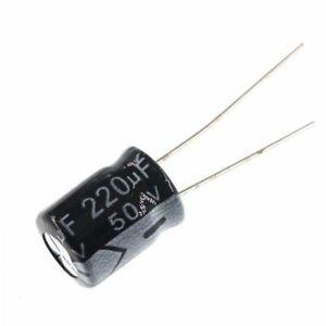20PCS-50V-220uF-50Volt-220MFD-105C-Aluminum-Electrolytic-Capacitor-8mm-12mm