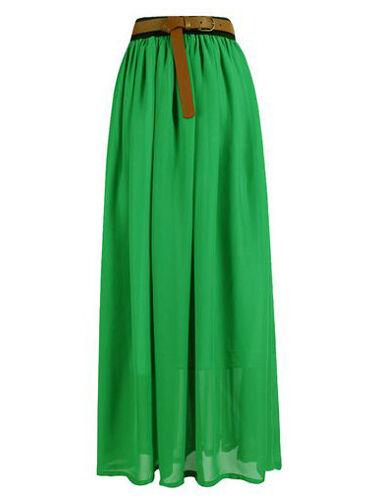 E GREEN | Lady Women Chiffon Maxi Skirt Pleated Retro Long Dress Elastic Waist