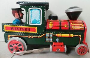VINTAGE-MODERN-TOYS-JAPAN-BATTERY-OPERATED-LITHO-TIN-PLATE-SMOKING-TRAIN