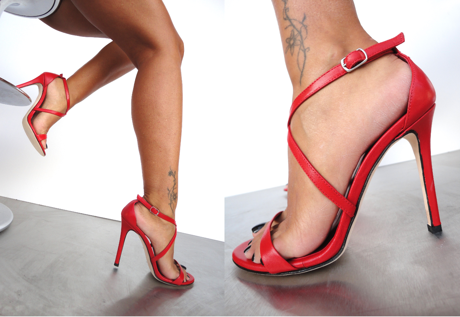 CQ COUTURE CUSTOM SEXY SANDALS SANDALI SANDALEN HIGH HEELS LEATHER RED ROSSO 40