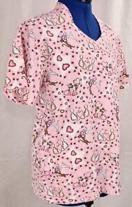 TLC-Small-Pink-Scrub-Top-Cats-Hearts-S-Medical-Uniform-Work-Shirt-V-Neck-Pockets