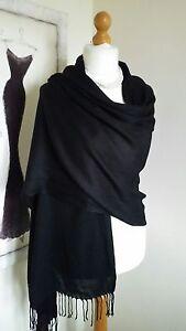 100/% Viscose Plain Pashmina Scarf Stole Wrap Shawl High Quality Black Ladies New