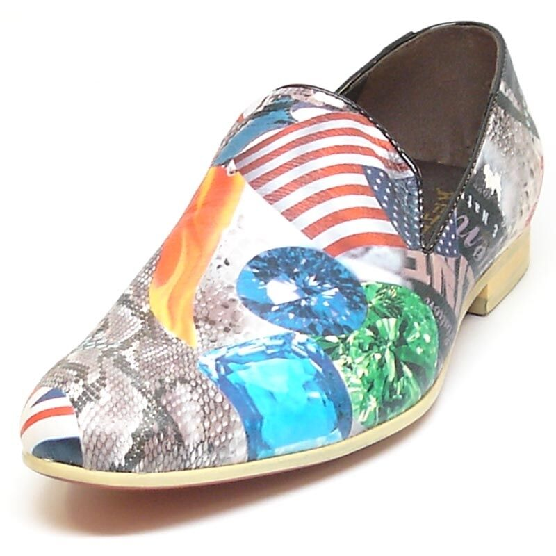Fiesso Men Leather scarpe  by Aurelio Garcia - Slip on with American Flag Print  economico