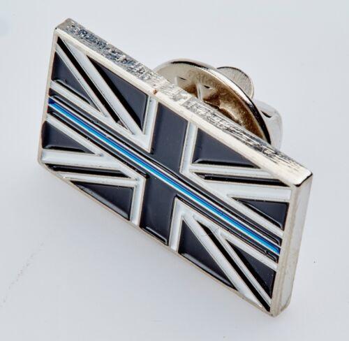 THIN BLUE LINE UK UNION JACK POLICE MOURNING BAND ENAMEL LAPEL PIN TIE BADGE