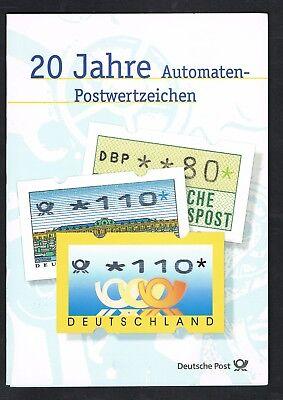 """Um Eine Reibungslose üBertragung Zu GewäHrleisten Sonderblatt """"20 Jahre Automaten-postwertzeichen"""" 006"""