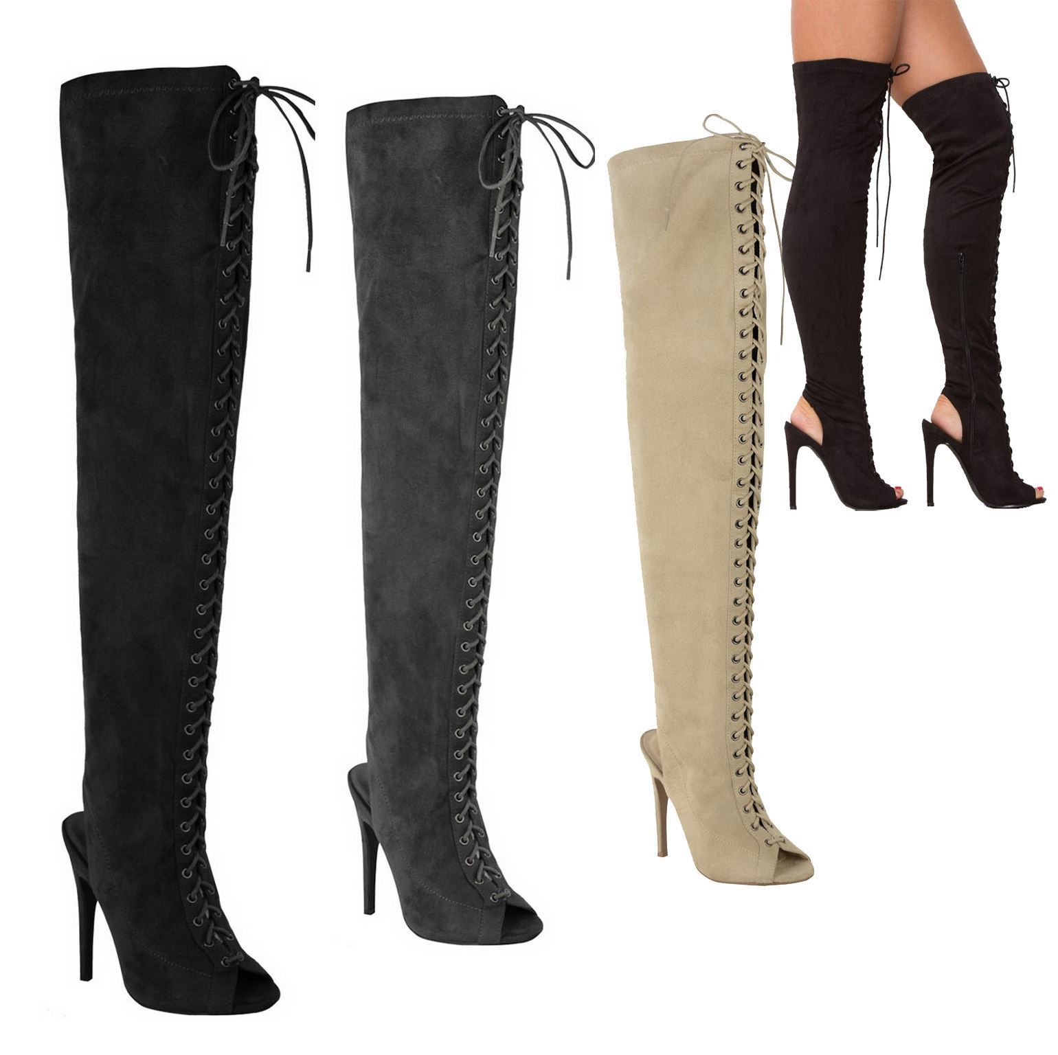 WOMENS LADIES SEXY THIGH HIGH STRETCH OVER KNEE LACE UP STILETTO HEEL BOOTS SIZE