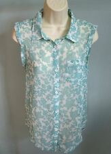 ROXY Ladies Light Beach wear Floral Shirt Top SMALL S Blue Surf  NEW Cotton