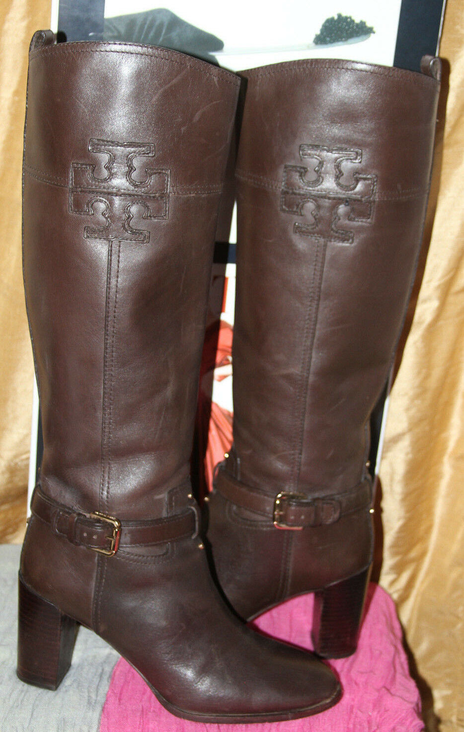 TORY BURCH BLAIRE BROWN LEATHER RIDING TALL BOOTS     SZ 9.5  MSRP$595