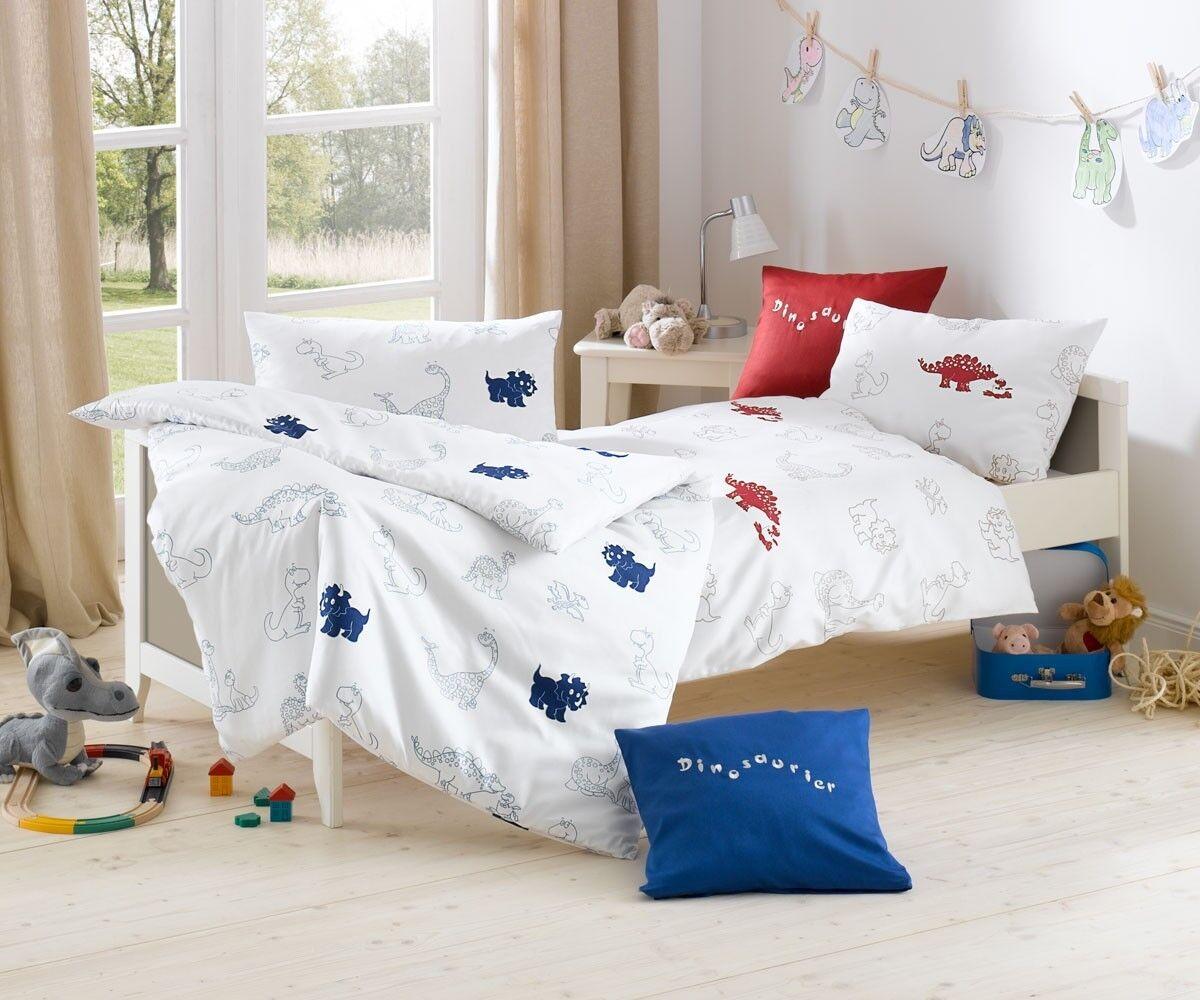 Lorena Kinderbettwäsche Dino Bettwäsche blau blau blau 100x135 + 40x60 cm 4df781