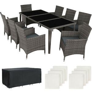 Détails sur Salon de jardin Résine tressée Mobilier 8 Places Table en verre  et fauteuils