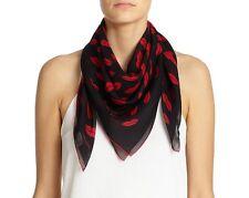 Saint Laurent Slimane YSL Lips Print Silk Georgette Square Scarf Black Red $495