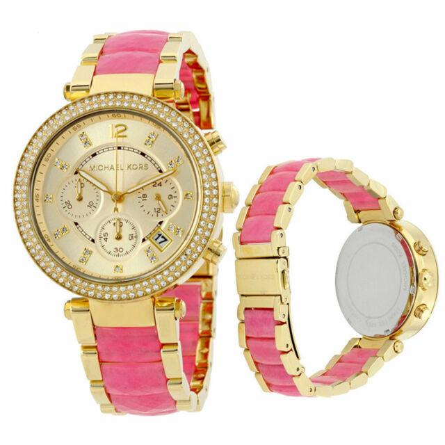 fbe97ecf9e82 Michael Kors MK6363 Parker Pink Gold Crystal Glitz Chronograph Women s Watch