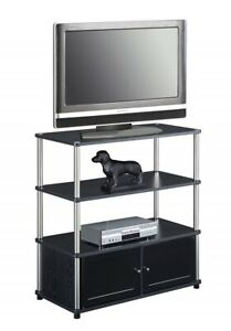 Small TV Stand For Small Spaces with Storage Cabinet Doors ...