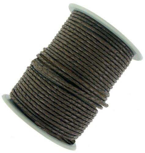 Decorative Plaited leather cord Black /& Dark Brown 3 mm Round