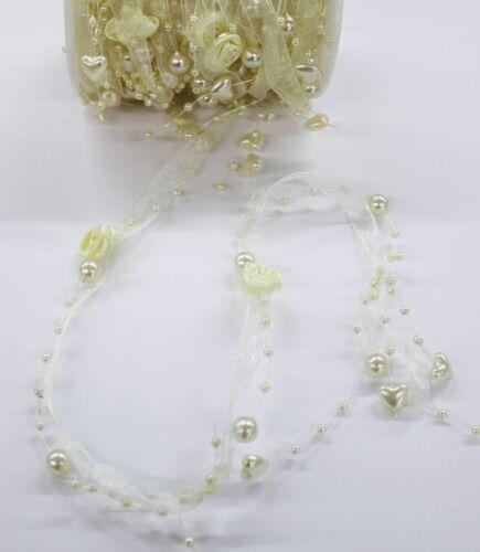 0,88€//M Organzaband Perlenband Dekoband Creme weiß Tischdeko Hochzeit 9 Meter