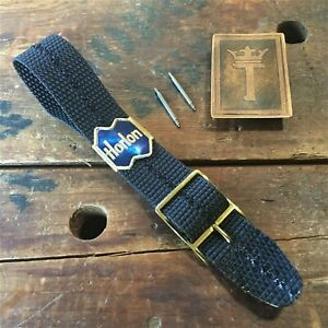 18mm-Nylon-1960s-1970s-NOS-Vintage-Watch-Band-Military-NOS-Strap-amp-Brass-Buckle