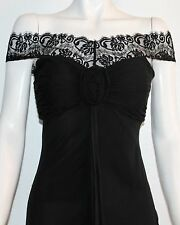 JOVANI Off the Shoulder Lace Chiffon Rosette Black Silk Dress Size 8