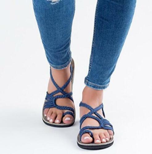 Da Donna Toe clip sandali sandali ad anello Lavorato a Maglia tagliato appartamenti Pompe Scarpe Da Spiaggia Nuovo