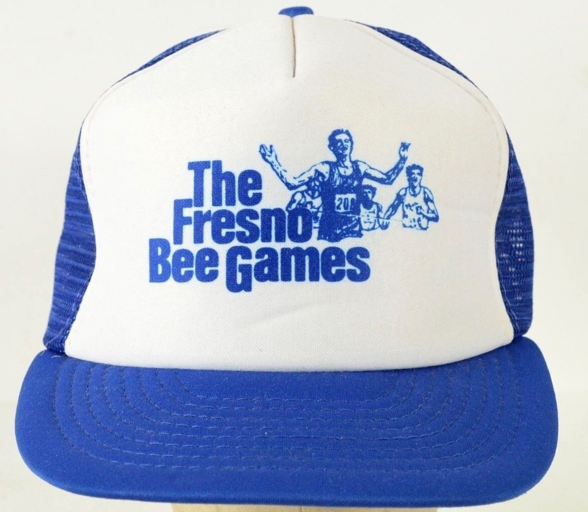 The Mesh Fresno Bee Games Blue Vintage Trucker Mesh The Baseball Hat Cap Adjustable bdc20a