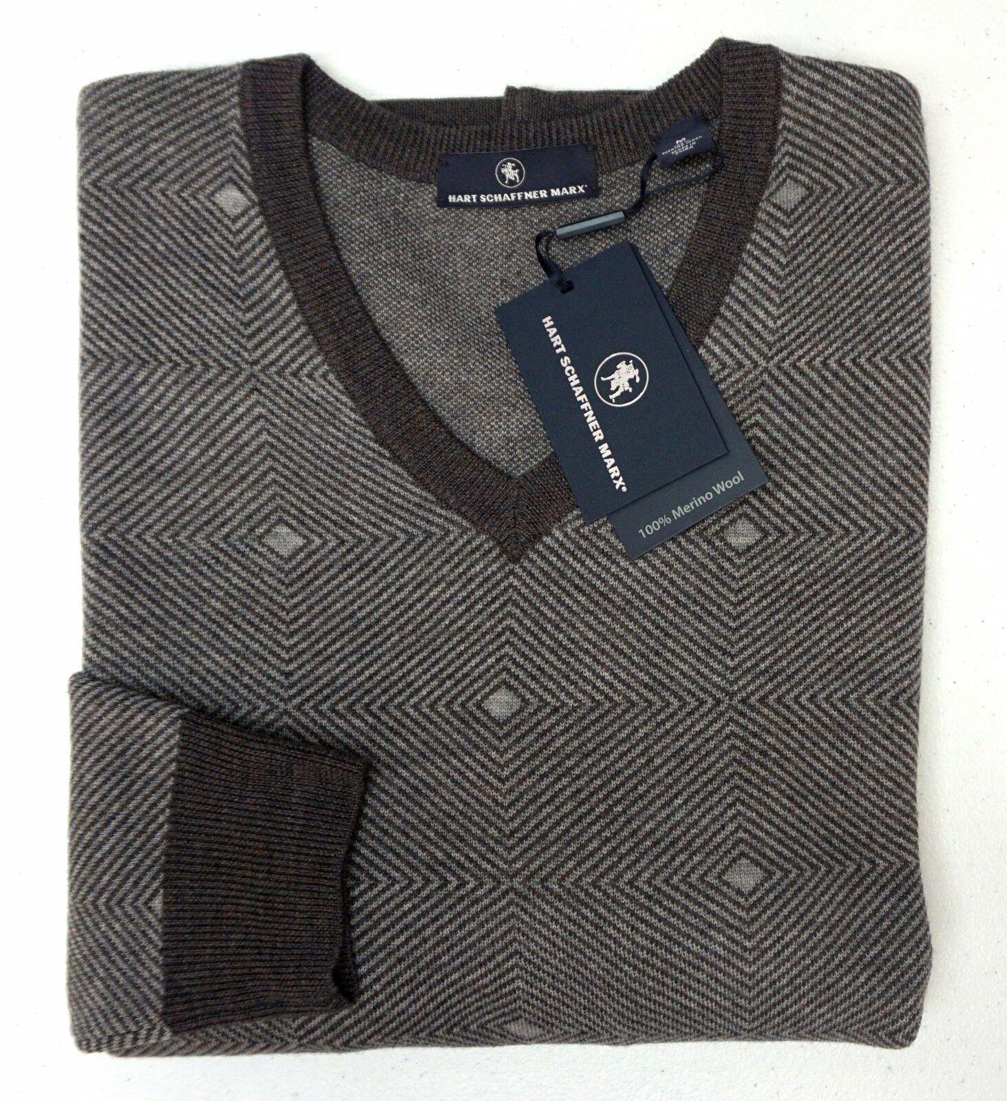 NWT  Hart Schaffner Marx LS Sweater Mens Size XL 100% Merino Wool Brown NEW