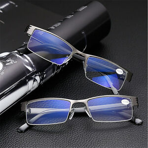 High-quality-Men-039-s-Half-frame-Style-Blue-Film-Anti-radiation-Reading-glasses-New