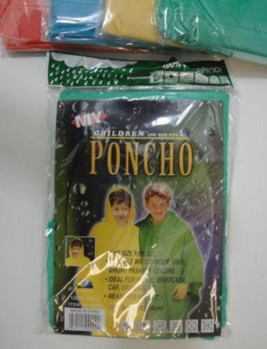 "Bulk Lot of 72 Children/'s Child/'s Kids Vinyl Rain Poncho in 4 colors 45/"" x 72/"""