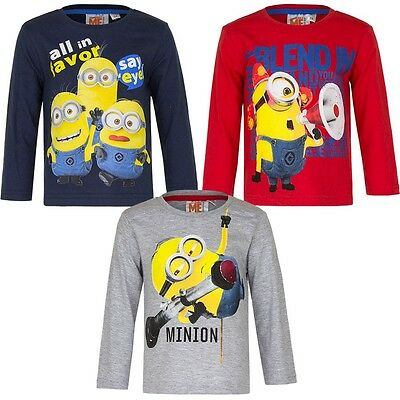 New boys licensed Despicable Me Minions t-shirts long sleeve crew neck cotton