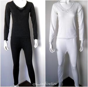 Ladies V Neck Merino Wool Blend Thermal Underwear 2pc Set (Sz 10 ...
